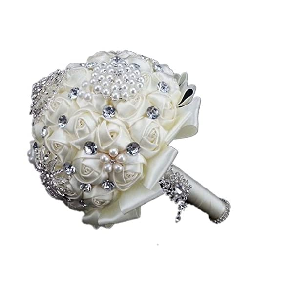 Lsinyan Romantic Diamond Bride Holding Flower Rose Artificial Wedding Bouquet of Flower, Western Style Wedding (Ivory)