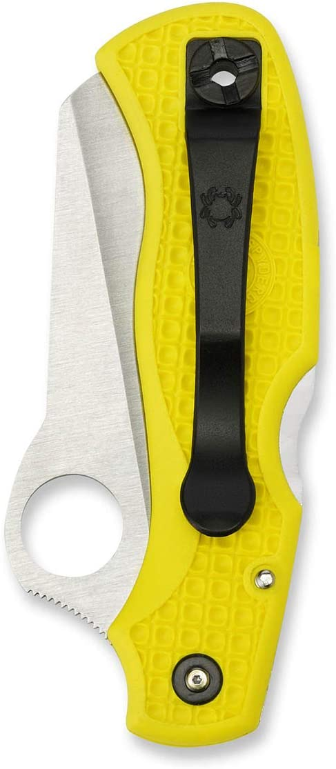 Spyderco Saver Salt Lightweight Folding Knife – Yellow FRN Handle with SpyderEdge, Hollow Grind, H-1 Steel Blade and Back Lock – C118SYL