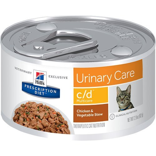 Hill's Pet Nutrition C/D Multicare Urinary Care Chicken & Vegetable Stew Canned Cat Food, 2.9 oz, 24 Pack Wet Food by HILL'S PRESCRIPTION DIET