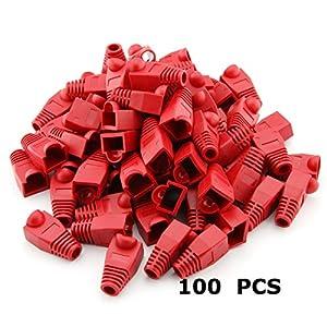 Generic 100 PCS 8P8C RJ45 CAT5 CAT5E CAT6 RJ45 Ethernet Network Cable Adapter Boot Plug Cap Cover Strain Relief Boots – Red