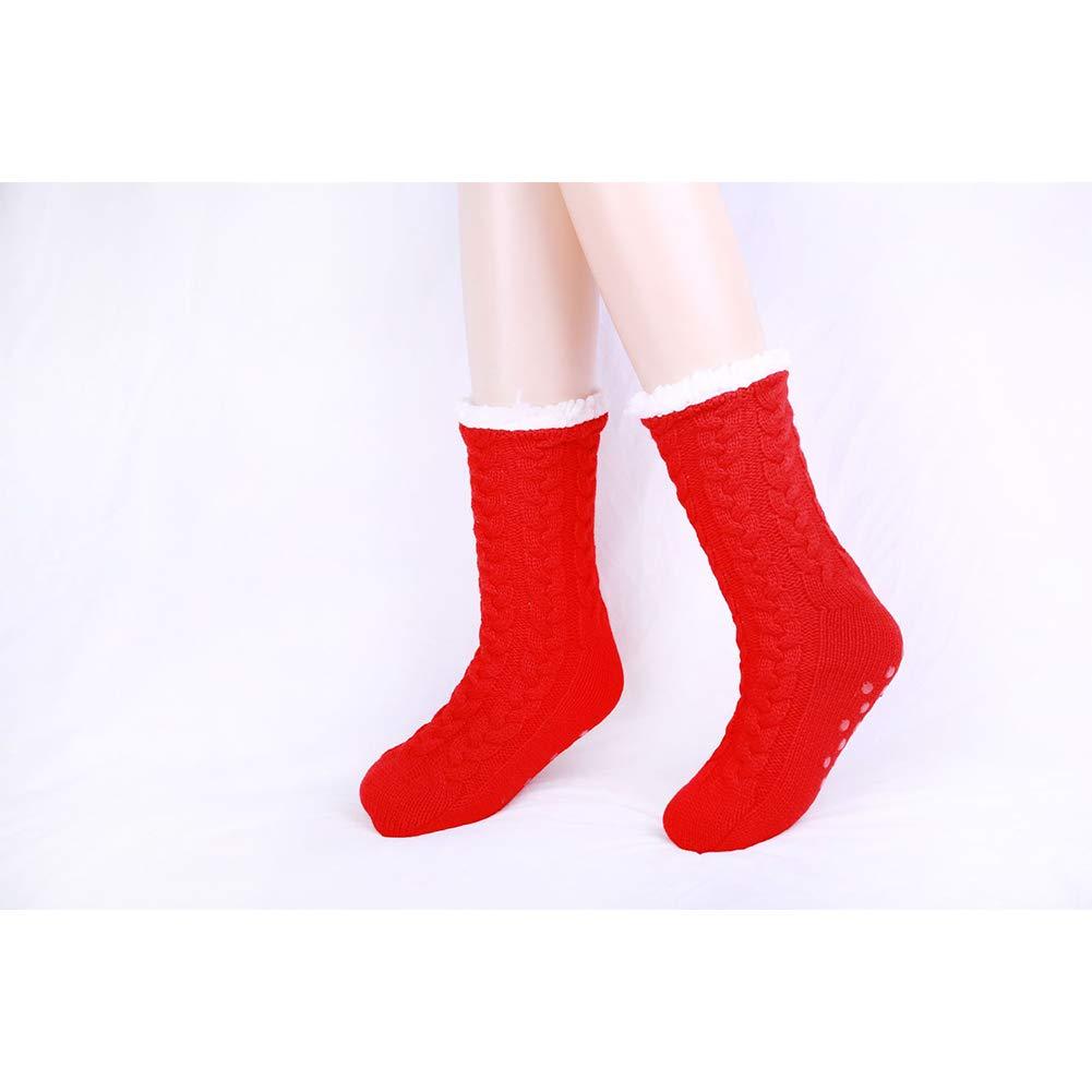 Gada Extra-Warm Fleece Thermal Foot Warmer Indoor Socks Anti-Slip Slipper Socks Christmas Socks