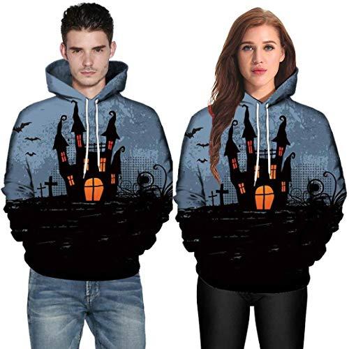 Hot Sale,WUAI Halloween Costumes for Adults Men Women Party Dress Up 3D Print Couples Slim Fit Hoodies Sweatshirt(Black-A,US Size L = Tag XL) -
