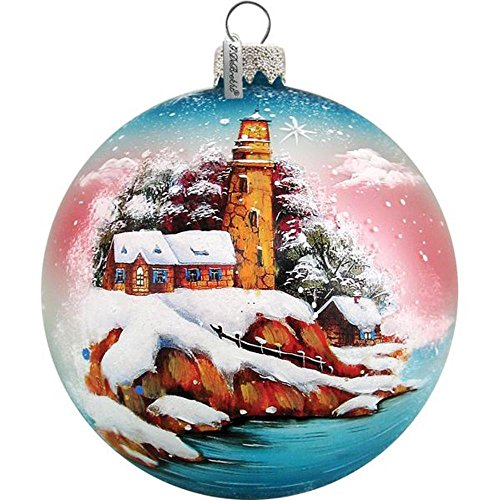 G. Debrekht Harbor Lighthouse Ball Ornament, Hand-Painted Glass, 3-1/2-Inch, Includes Ribbon for ()