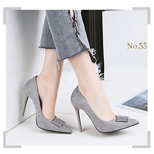 ALUK Vereinigten Farbe größe Grau Shoes die professionelle Europa und Spitze Damenschuhe Stöckelschuhe 35 long225mm Schwarz Kleidung Schuhe Staaten IwRqrIgH