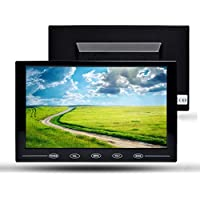 TOGUARD 9 Inch Ultrathin HD 1024x600 Color TFT Monitor Display Touch Button Car Monitor Screen with AV/HDMI/VGA Video Input, Remote Control, Built-in Speaker