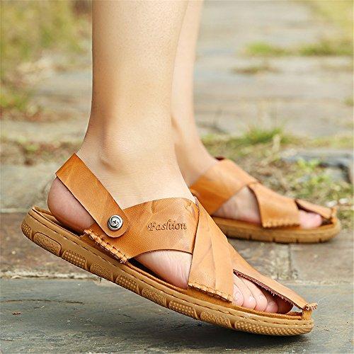 per uomo pelle all'aperto 43 Dimensione camminare sulla Morbida per in Color cinturino in spiaggia Orange 2018 scarpe piatta regolabile EU backless Mens senza morbida shoes punta xwpYzaU