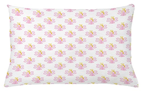 Ambesonne Angel Throw Pillow Cushion Cover, Cute Angels Spiritual Wing Girl with Halo Fairy Tale Surreal Kids Cartoon, Decorative Square Accent Pillow Case, 26 X 16 Inches, Baby Pink Earth Yellow (Fairy Club Wings Pink)