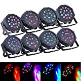 SUNCOO 8Pack LED Par Can Lights Uplights DMX Stage Light 18LEDs DMX Lighting 7 Modes DMX Control Sound Activated for Stage Lighting Club Party Show DJ Diso KTV,8 Pieces 18x3Watts