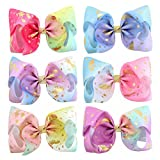 8inch Star Unicorn Large Baby Girl Hair Bows with Clips for Kids Girl Hair Accessories