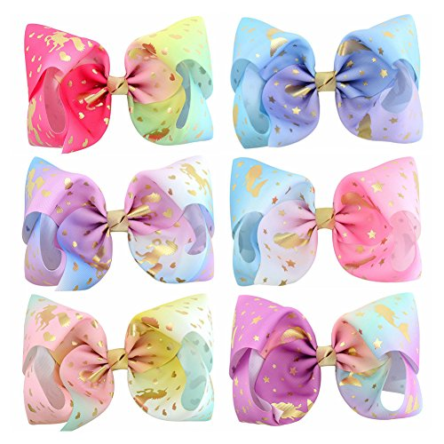 8inch Star Unicorn Large Baby Girl Hair Bows with Clips for Kids Girl Hair Accessories (Hair clip, 857-6 PCS)