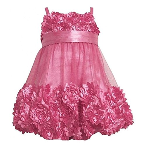 BONNIE JEAN Kids Fuchsia Pink Dress Die Cut Bonaz Rosette Mesh Bubble Girl (5) (Rosette Bubble Dress)