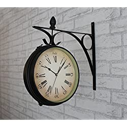 TNKML Large Indoor Decorative Wall Clock Vintage Retro Nostalgic Wrought Iron Double-Sided Silent Movement Double-Sided Clock 14 Inches