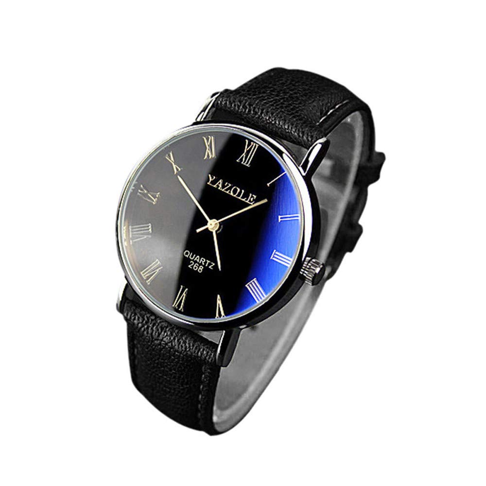 Balakie Mens Wristwatch Blue Ray Glass Faux Leather Band Multi-dial Analog Quartz Watch-A90 Business Travel Gifts