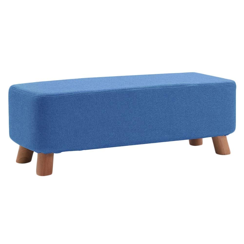 E 80x28x25cm Footstool Solid Wood Multifunction Rectangle Cloth Change shoes Bench Household Low Stool, 5 colors 3 Sizes GFMING (color   A, Size   80x28x25cm)