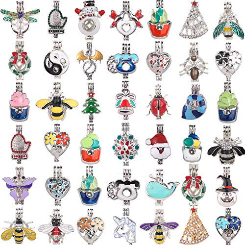 - 15pcs Mixed New Enamel and Crystal Set Process Potted Style Pearl Cage Pendant Cage for Pearl Essential Oil Scent Diffuser Pendant Necklace Jewelry Making Supplies