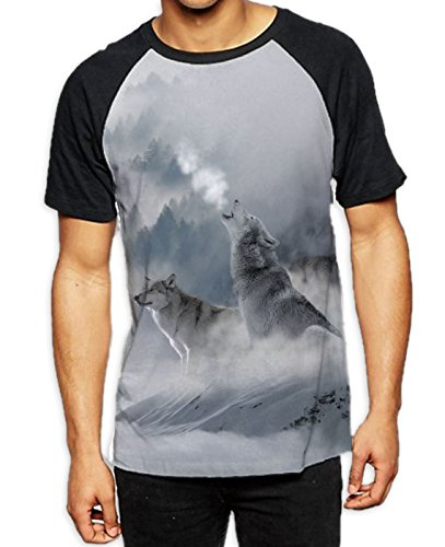 Wolves Howling at Moon Men's All Over Graphic Contrast Baseball T Shirt (Medium, White) ()