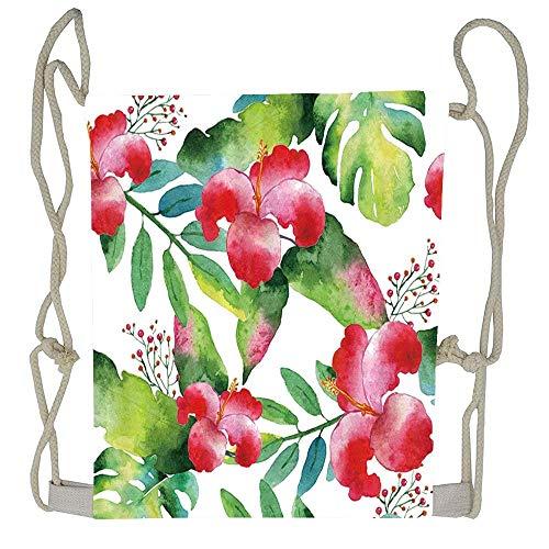 WATINCFlagHomegg Tropical Plants Tropical Hawaii Leaves and Flowers Unisex Home Gym Sack Bag Sport Drawstring Backpack Bag ()