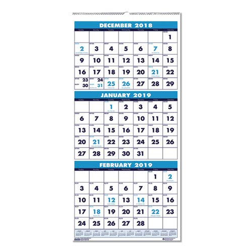 (House of Doolittle 2019 Wall Calendar, Three-Month Vertical, 12.25 x 26 Inches, December - January (HOD3640-19))