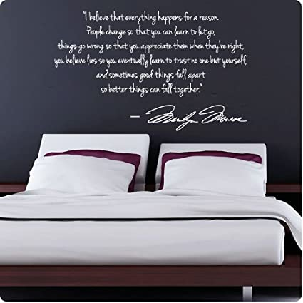 Perfect WHITE Marilyn Monroe Wall Decal Decor Quote I Believe Things Happen...Large  Nice