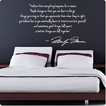Charming WHITE Marilyn Monroe Wall Decal Decor Quote I Believe Things Happen...Large  Nice Part 21