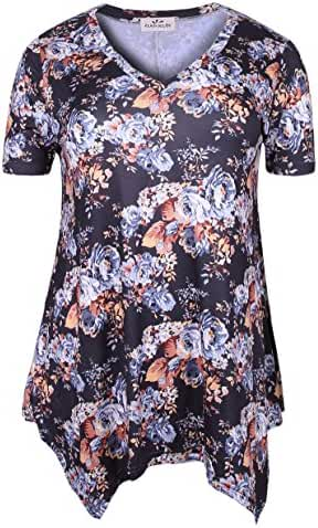 Zerdocean Women Plus Size Printed Short Sleeves Tunic Tops Flowy T Shirt