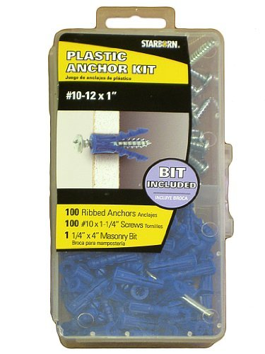 Plastic Anchor Kit #10-12 X 1'' with Masonry Bit & #10 X 1-1/4'' - 10 Anchor Kit