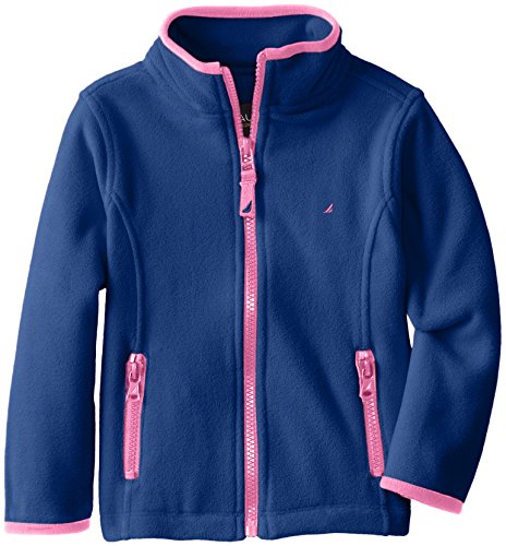 Nautica Little Girls' Polar Fleece Front Zip Jacket, Medium Navy, XL (6X) (Fleece Jacket Kids)