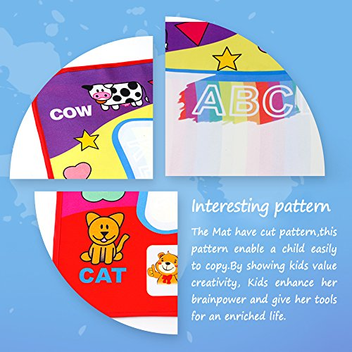 Magic Water Doodle Mat with Rainbow Color Swatches,Children Water Drawing Mat Board,Educational Toy Gift