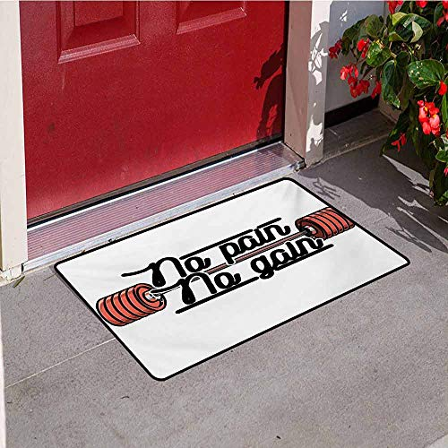 Jinguizi Fitness Welcome Door mat Pain No Gain Vintage Emblem Design Barbells Weightlifting Bodybuilding Door mat is odorless and Durable W23.6 x L35.4 Inch Coral Black White ()