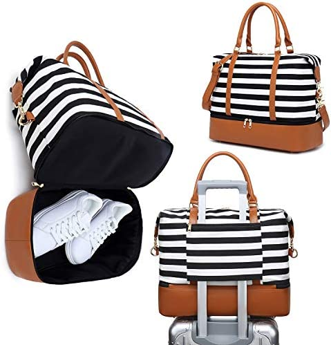 Womens Travel Weekend Bag Canvas Overnight Carry on Shoulder Duffel Beach Tote Bag (Black stripe with shoe compartment)