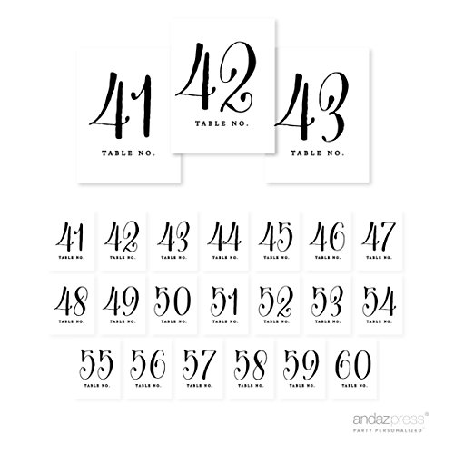 Andaz Press Table Numbers 41 - 60 on Perforated Paper, Formal Black and White Print, 4.25 x 5.5-inch Cardstock Sign, 1-Set, For Weddings, Birthday Party, Baby Shower -