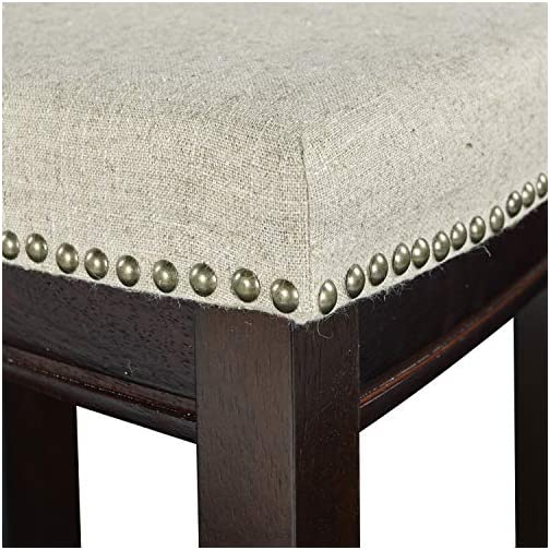 Linon Hampton Stool Fabric Top, 24-inch