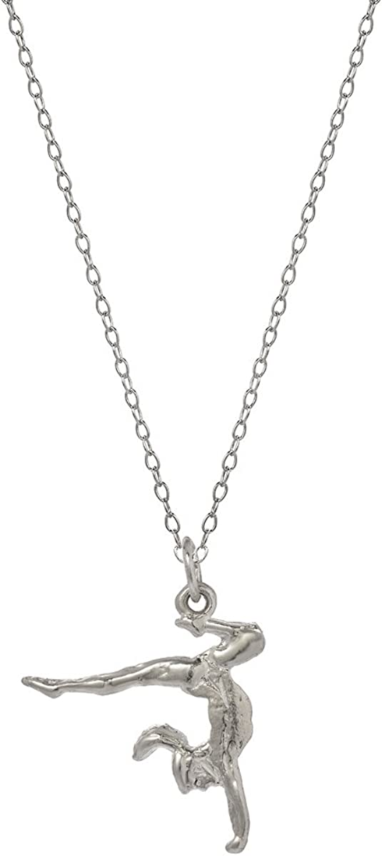 Sterling Silver Gymnast Charm /& 18 Chain