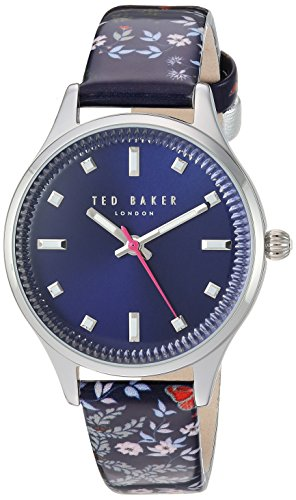 Ted Baker Women's Zoe Stainless Steel Quartz Watch with Leather Strap, Multi, 14 (Model: TE50001001