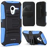 i-Blason Motorola Moto X Prime Series Dual Layer Holster Case with Kickstand and Locking Belt Swivel Clip (Blue)