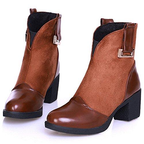 COOLCEPT Damen Trend Einfache und Retro Blockabsat Schuhe Knöchel Stiefel Beiläufige halbe Stiefel Braun