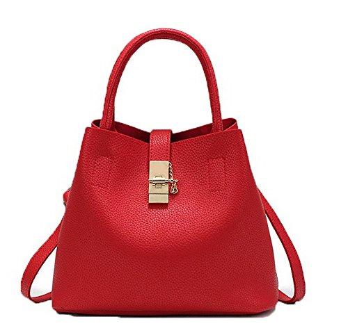 AgooLar Femme Style de seau Sacs fourre-tout Mode Sacs à bandoulière,GMBBB180893 Rouge