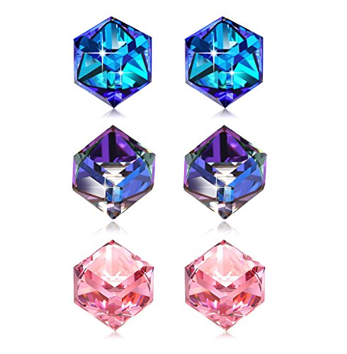 Stud Earrings 3 Colour Pack Swarovski Crystal Aurora Borealis Square Hypoallergenic Silver Colorful Cube Earring Set Mother's Day Anniversary Birthday Gifts for Mom Wife Girlfriend Girl Daughter - Mom Set Earrings
