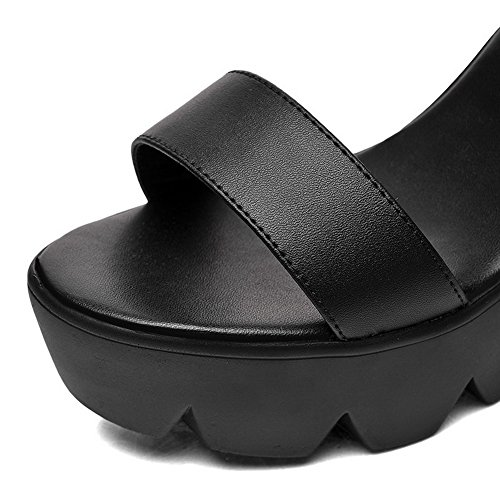 AmoonyFashion Womens Buckle High Heels Cow Leather Solid Open Toe Sandals Black l1fdY1Byk