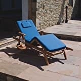 Trueshopping Amalfi Sun Lounger Premium Hardwood Fully Adjustable with Blue Luxury Cushion and pull out Drinks Tray