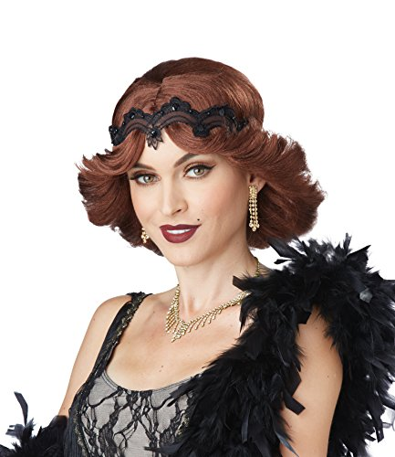 Glitz And Glamour Costumes (California Costumes Women's 20s Glitz and Glamour Wig and Headband, Brunette, One Size)