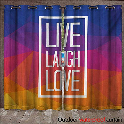 WilliamsDecor Live Laugh Love 0utdoor Curtains for Patio Waterproof Famous Slogan Framework with Triangulated Low Poly Effects Colorful Print W96 x L96(245cm x 245cm) (Poly Brocade)