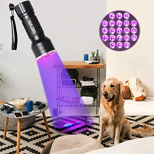 2 Pack UV Flashlight - Delxo 21 LED Blacklight Flashlights 395nm Detector for Dog Pet Urine Stains Bed Bugs and Scorpions,Authenticate Currency,Detection of Fluorescent Agent for Mother
