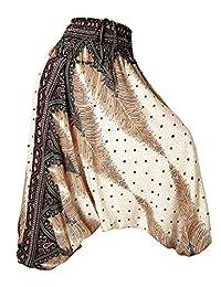 BAISHENGGT Women's Ethnic Printed Aladdin Harem Hippie Jumpersuit Pants