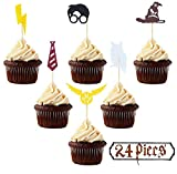 Oecee Harry Potter Inspired Cupcake Toppers (Set of 24) Harry Potter Wizard Birthday Party Decorations Supplies Hogwarts Party Decor