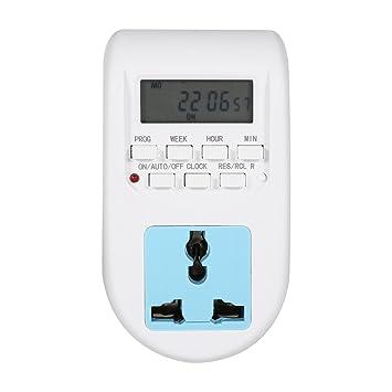 Toma temporizador digital programable con programas 7 días y 24 horas Interruptor de pared pantalla LCD