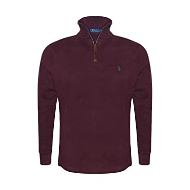 71dde6c65272 Polo Ralph Lauren Men s Half Zip French Rib Cotton Sweater at Amazon ...