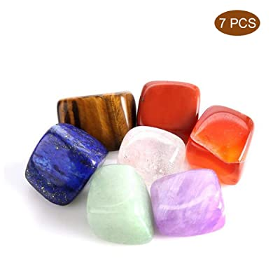 GZQ Chakra Stones Healing Crystals Set of 7, Healing Crystals for Use as 7 Chakra Stones and Worry Stones for Grounding Balancing Soothing Meditation Reiki: Kitchen & Dining
