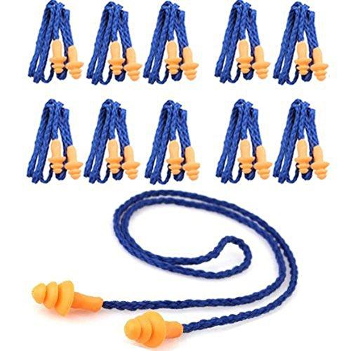 Monkeybrother 10 Stück Weich wiederverwendbar Silikon Gehörschutzstöpsel Ohrstöpsel mit Schnur (Lärm senkung 29DB)