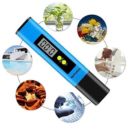 VANTAKOOL Digital PH Meter, PH Meter 0.01 PH High Accuracy Water Quality Tester with 0-14 PH Measurement Range for Household Drinking, Pool and Aquarium Water PH Tester Design with ATC (Blue) by VANTAKOOL (Image #3)